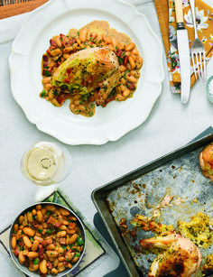 This quick and easy chicken and cannellini bean stew is perfect for a midweek supper. Serve it with Buttered cabbage and leeks followed by