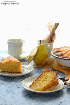 A rustic yogurt cake topped with sweet, soft pears and a dusting of cinnamon sugar is worthy of both your dessert and breakfast tables. Pear Dessert Recipes, Pear Recipes, Sweet Recipes, Italian Desserts, Cake Recipes, Pear Yogurt, Yogurt Pie, Breakfast Tables, Pear Cake