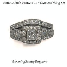 """A beautiful """"Antique Style"""" Princess Cut Diamond Engagement Ring Set with a 1/2 carat Princess Cut Diamond in the center.  Very Pretty!"""