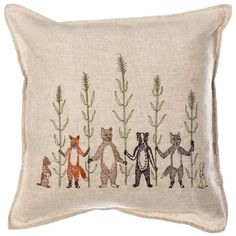 These playful animals are having a romp in the wheat fields!  Pillow has a 90% small feather, 10% down insert. Embroidered cover on 100% linen fabric. Back fabric is 100% linen.  Measures 12″ × 12″.