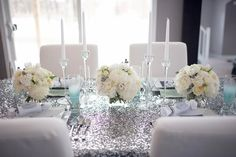 Glittery Tablecloths! Spotlight fabrics cut to size! @Claire Mobbs