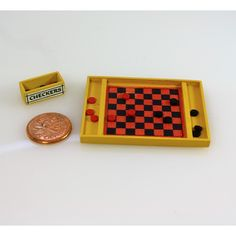 Handmade checker board for your dollhouse! Available exclusively from Small Scale Showcase Miniature Furniture, Dollhouse Furniture, Dollhouse Miniatures, Artisan, Brass, Checker Board, Scale, Handmade, Accessories