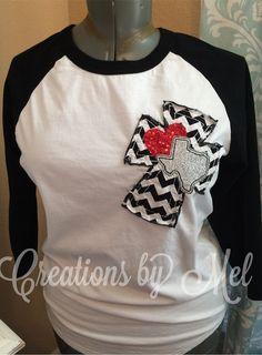 Women's Raglan Texas Love Heart Raggy Cross by CreationsbyMelShop