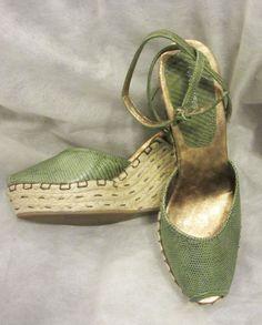 Fab NINE WEST Green Reptile Ankle Strap Peeptoe Espadrille Wedge Heels Sandals 9 #NineWest #Platforms #Wedges #Espadrilles