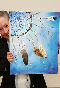 Original acrylic painting Dream Catcher wall art on canvas home decor