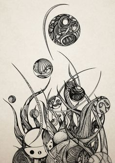 """""""Bothria""""  by Brandon Dover   — Drawn with Micron Pens (2012)    (On Society6!)"""