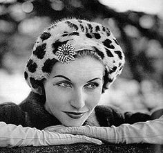 Denise Sarrault wearing leopard fur beret by Paulette; Photo by Georges Saad, 1957