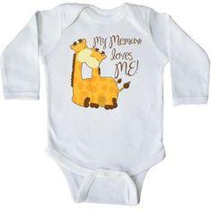 Inktastic My Memaw Loves Me! Long Sleeve Creeper Grandma Me Giraffe Gift Loved By Greatest Grandmas House Spoils Grandkids, Infant Boy's, Size: 6 Months, White