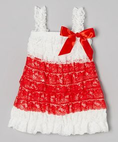 Love this White & Red Ruffle Dress - Infant, Toddler & Girls on #zulily! #zulilyfinds