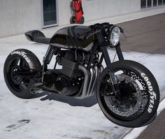 """with ・・・ """"BACK IN BLACK"""" - Honda Cafe Racer 😎 . Tag someone that would take this beauty home! Cafe Racer Honda, Cafe Racer Bikes, Cafe Racer Motorcycle, Motorcycle Design, Motorcycle News, Ural Motorcycle, Cafe Racer Style, Custom Cafe Racer, Custom Bobber"""