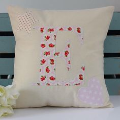 Personalised Initial Cushion | Letter Pillow | Gifts for Her | Nursery Decoration | Girl's Bedroom | New Baby | Christening | Older Girl