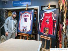 Framing a signed NBA Basketball Jersey, with Photos and Team logos Shadow Box Jersey, Jordan Jersey, Framed Jersey, Man Cave Basement, Sports Jerseys, Air Hockey, Dart Board, Basketball Jersey, Design Your Own