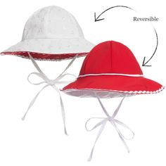 a3d7f18061e Girls Red Broderie Anglaise Reversible Sun Hat
