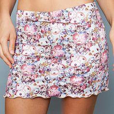 Golden Blossom A-line Skort by Denise Cronwall, Denise Cronwall Activewear Golden Blossom Collection, #activewear, #tennis, #fitness, #workout, #apparel, #style, #fashion, #unique, #boutique, #training, #pants, #bra, #top, #designer, #skort, #skirt