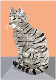 Getigerte Katze by Moitao. #katze #cat #katzen #cats #kunst #art #digital #illustration #getigert #striped | http://www.kunst-in-bildern.de/bildergalerie/getigerte-katze