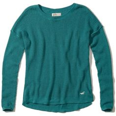Hollister Iconic Pullover Sweater ($35) ❤ liked on Polyvore featuring tops, sweaters, turqouise, hollister co. sweaters, sweater pullover, waffle knit sweater, waffle top and blue sweater