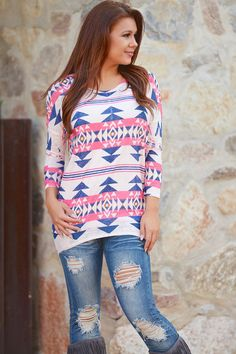 Pink State Of Mind Aztec Tunic