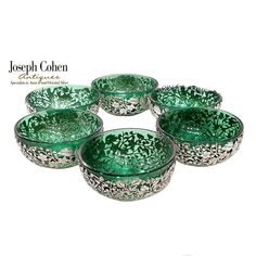 ANTIQUE CHINESE EXPORT SILVER PIERCED BOWLS, GREEN GLASS LINERS, T & Co, c. 1900 Decorative Bowls, Deserts, Luxury, Antiques, Joseph, Green, Chinese, Glass, Silver