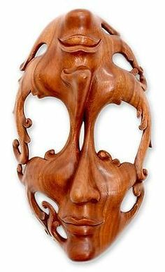 Wood Mask Sculpture Surreal Wall Art Hand Carved 'Joy and Sorrow' Novica Bali | eBay