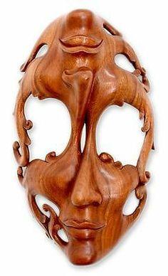 Wood Mask Sculpture Surreal Wall Art Hand Carved 'Joy and Sorrow' Novica Bali | eBay