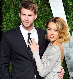 Miley Cyrus and Liam Hemsworth dated on and off for three years before announcing their engagement in the summer of 2012. Description from answers.com. I searched for this on bing.com/images