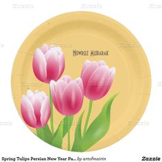 نوروز مبارک .Nowruz Mubarak / Happy Nowruz / Muslim Spring Festival / Norooz / Persian New Year Celebration Party Spring Tulip Design Paper Plates. Matching cards, postage stamps and other products available in the Muslim Holidays / Events Category of the artofmairin store at zazzle.com