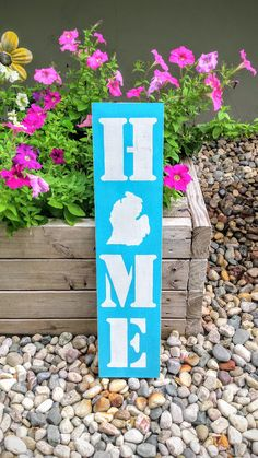 CHOOSE COLOR Home Michigan Wooden Sign Hanging by JunkyardDaisies