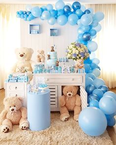 Teddy Bears Baby Shower theme Lovely 50 Lovely Baby Shower Ideas for Girls Decor. - Teddy Bears Baby Shower theme Lovely 50 Lovely Baby Shower Ideas for Girls Decorations Diy How to - Deco Baby Shower, Shower Bebe, Baby Shower Brunch, Boy Baby Shower Themes, Baby Shower Parties, Baby Boy Shower, Baby Shower Balloon Decorations, Baby Shower Balloons, Baby Shower Centerpieces