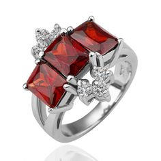 Red Crystal Pave Brass Ring 35114