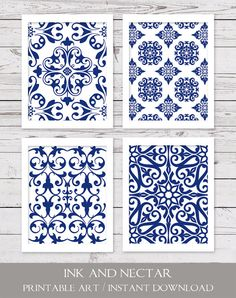 Blue and White Art, PRINTABLE Art Set, Blue Art Prints, Navy Art, Bedroom Art, Damask Art, Digital Art, INSTANT DOWNLOAD, Wall Decor
