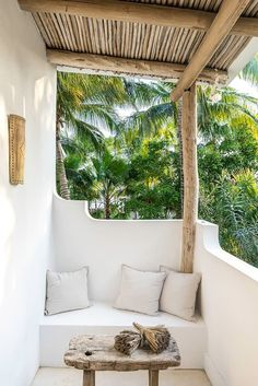 Tropical white balcony with rustic furniture at Mexican holiday rental Casa Impala Beautiful Space, Beautiful Homes, Outdoor Spaces, Outdoor Living, Luxury Loft, Lofts For Rent, Destinations, Rustic Loft, Adobe House