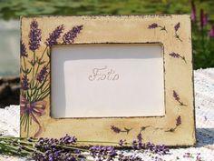 Wood photo frame Lavender field / Decoupage