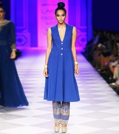 #Blue Embroidered #Rayon #Kurta With Pants by #Anita #Dongre at #Indianroots