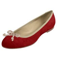 Rote Ballerinas aus Wildleder
