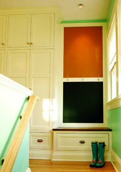 built in bench - stair landing -- great ideas about built-in storage elements for any home!