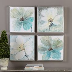 Florals In Cream and Teal Framed Wall Art 4-piece Set, Multicolor
