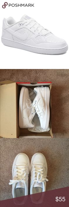 NWT Nike White Son Of Force Size 8 Women's US NWT Nike Son Of Force White Shoes, Women's Size 8 US  Smooth leather upper materials.Perforations for increased ventilation.Lace closure for a secure fit.Iconic swoosh logo at each side, and Nike logo at heel.