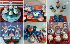 4th of July Cupcakes {red,white & blue #cupcakes, Uncle Sam cupcakes}