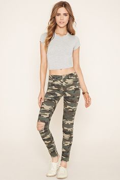Camo Print Skinny Jeans | Forever 21 - 2000177000