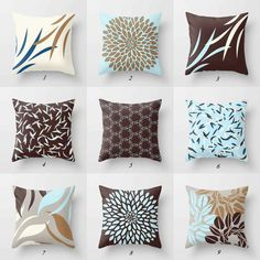 🟢▲ Please read item description below and shop policies prior to purchase. Contact me if you have any questions. ▲▲▲▲▲▲ DESCRIPTION ▲▲▲▲▲▲ Mix and match throw pillow covers. Main colors are dark brown with reddish tinge, blue, gray, taupe and off white. Custom made using eco-friendly dye sublimation Brown Pillow Covers, Grey Cushion Covers, Brown Throw Pillows, Brown Cushions, Blue Pillows, Decorative Pillow Covers, Decor Pillows, Brown Throws, Pillow Cover Design
