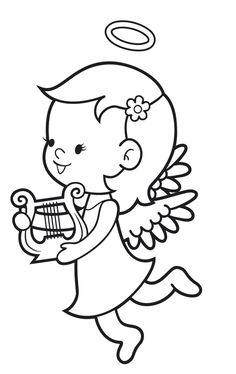 Ausmalbild Engel: Kostenlose Malvorlage: Engel mit Trompete ...