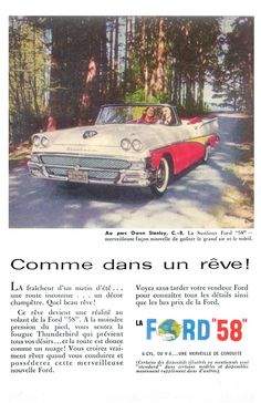 1958 Ford Fairlane Poster Size Ad by AtomicScrapbook on Etsy
