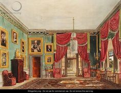 The Green Pavillion at Frogmore. English Axminster or French Savonnerie rug, green walls, red drapes, portraits.