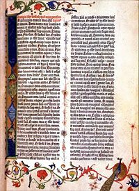 A Print Of The Gutenberg Bible With Lettering And Decorative Illustrations Around Border