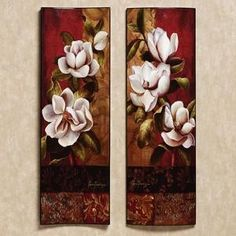 Magnolia Elegante Wooden Wall Art Set..... Ideas for bedroom theme