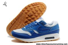 2014 Hommes Nike Air Max 1 87 Running Chaussures Sky Bleu Blanc Pas cher