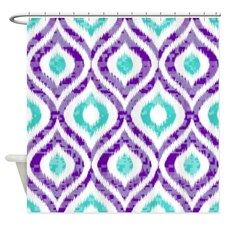 PURPLE AND TEAL IKAT 2 COPY Shower Curtain for