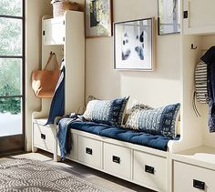 Wade 3-Piece Bench & Tower Entryway Set #potterybarn.  Blues and whites are huge this year!