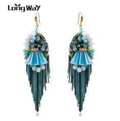LongWay Handmade Blue Crystal Long Earrings For Women Resin Wedding Tassel Drop Earings Fashion Jewelry Bijouterie