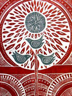 Three Birds lino Print
